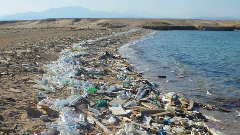تلوث شاطئ لبنان بالنفايات